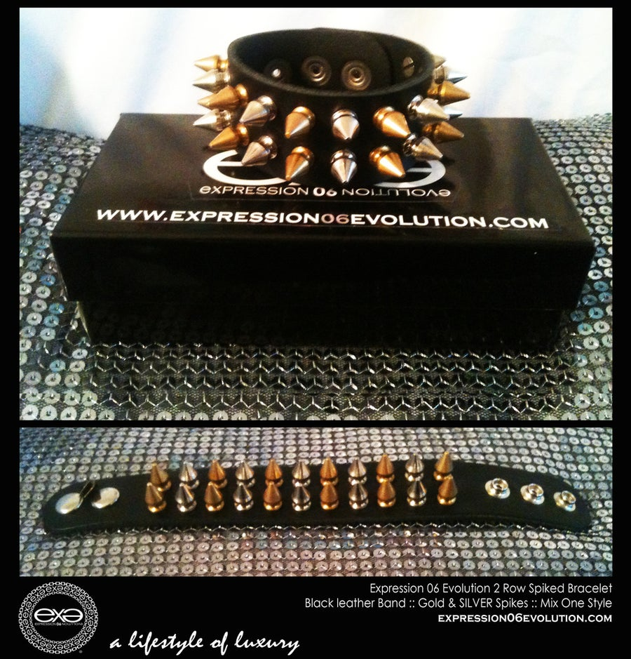 Image of EXPRESSION 06 EVOLUTION /  SPIKED BRACELET / 2 ROW SPIKES..