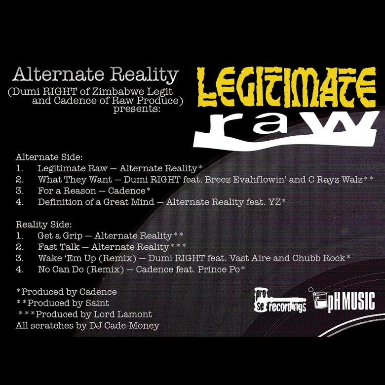 Image of Alternate Reality - Legitimate Raw feat Chubb Rock, Prince Po, YZ, Vast Aire, C-Rayz Walz etc