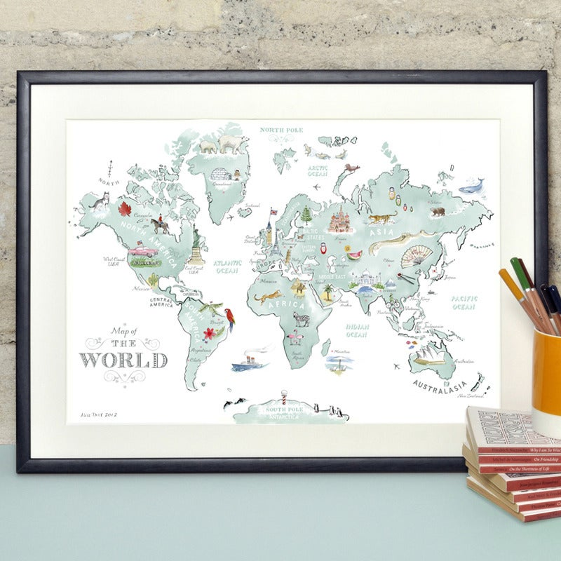 Alice tait illustrated world map print alice tait shop gumiabroncs Image collections