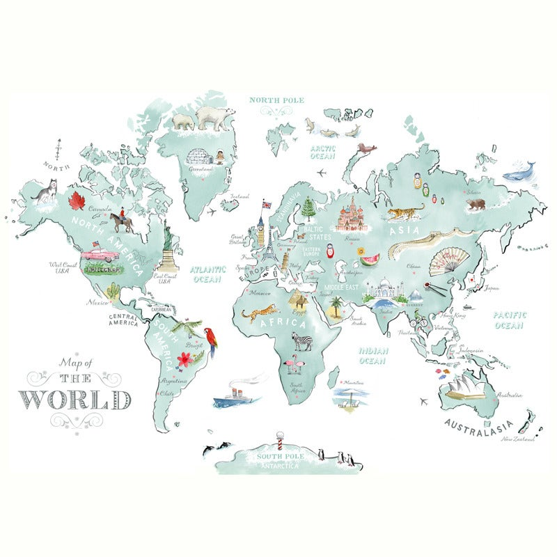 alice tait large illustrated world map print alice tait shop