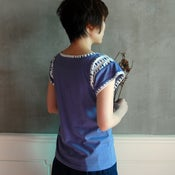 Image of Cotton Sleeve Leaves Print Top /全棉袖口拼樹葉花上衣 (code: 060)