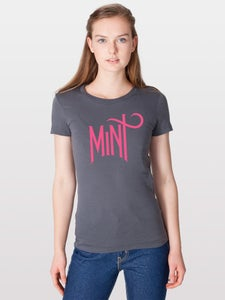 Image of Women's American Apparel Logo Tee - Neon Pink on Asphalt