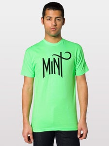 Image of Men's American Apparel Logo Tee - Black on Neon Green