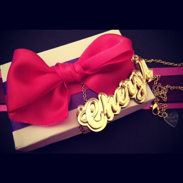 Image of Cheryl's Dope Personalized Gold on Gold Cursive Name Necklace