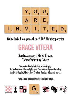 Image of Game Themed Scrabble Party Invitation