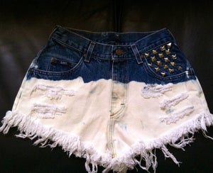 Image of Dipped Dyed studded pocket cut offs