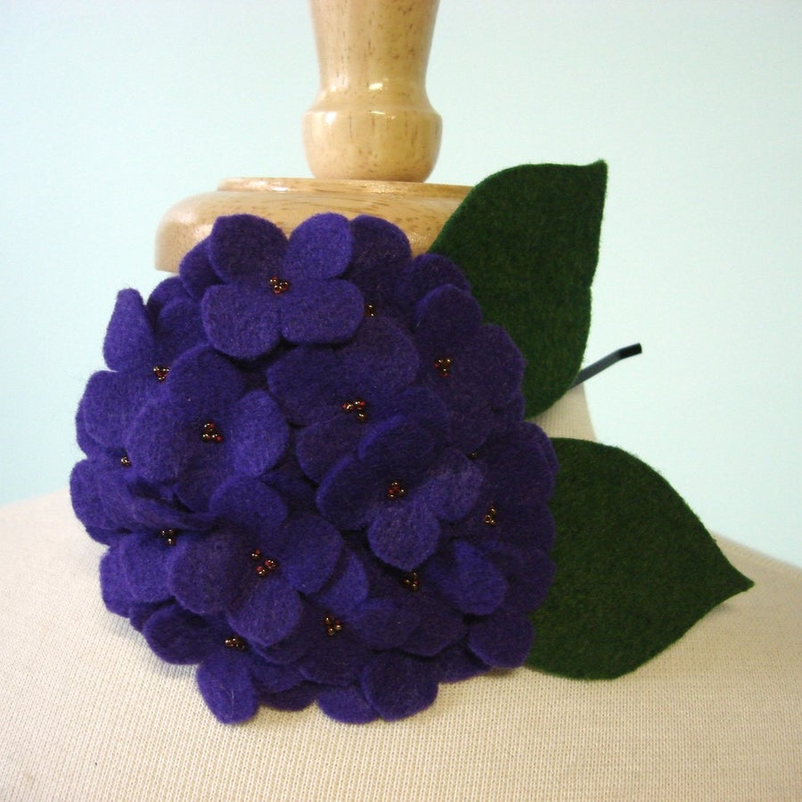 Image of large hydrangea // violet headband