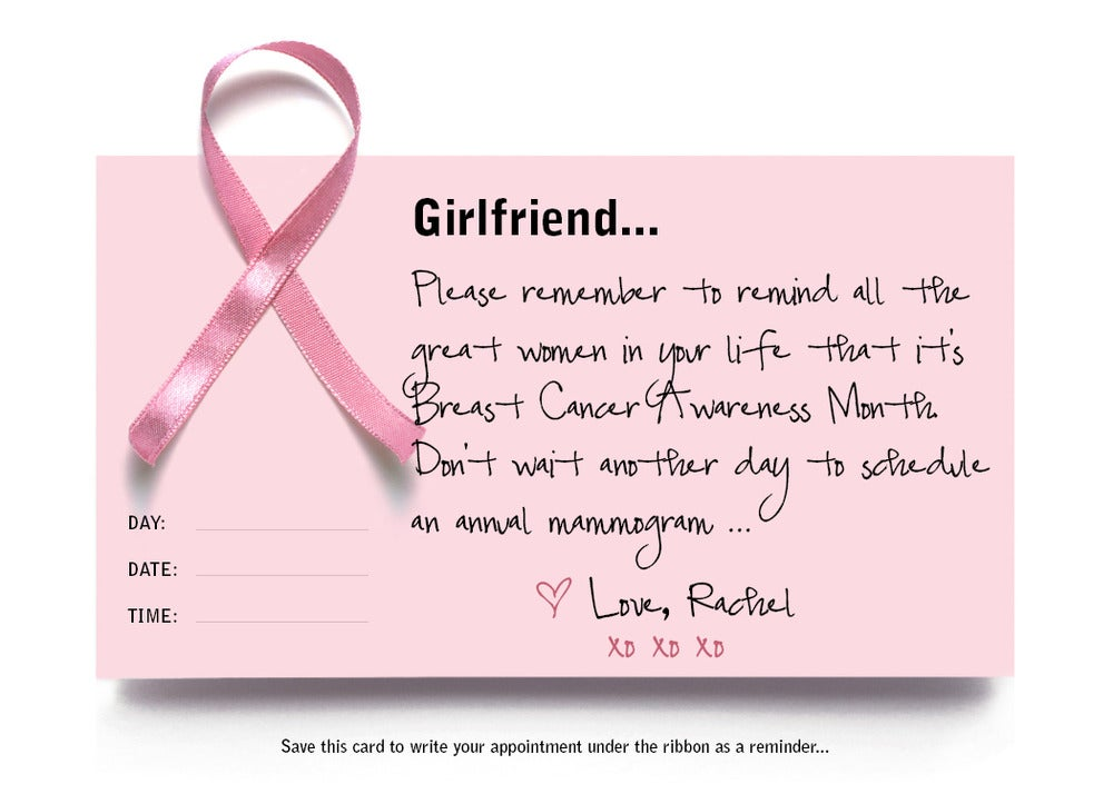Mammogram Reminder Cards (Breast Cancer Awareness Month)