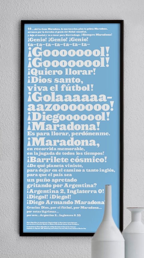 "Image of MARADONA ""GOAL OF THE CENTURY"" PRINT LARGE"