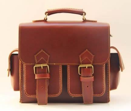 Image of Vintage Handmade Artisan Genuine Leather Satchel Briefcase Messenger Bag / Case in Brown (m8-2)
