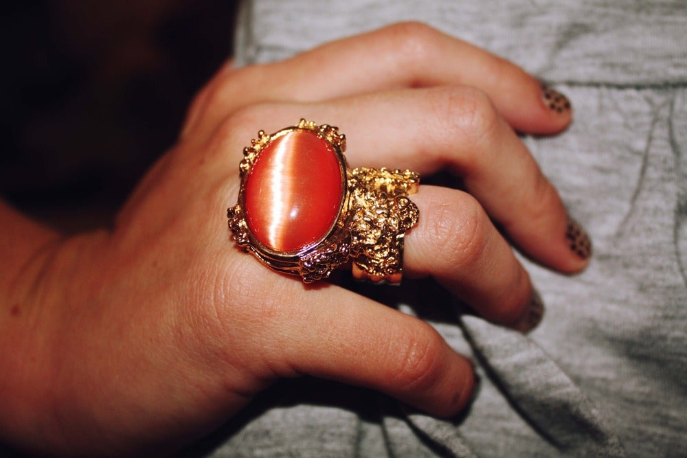 Image of Vintage Style Arty Designer Inspired Ring - Peach