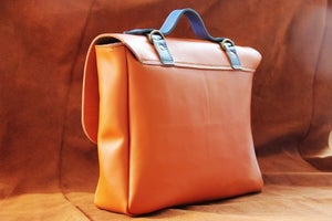 Image of Handmade Genuine Leather Satchel / Briefcase / Handbag / Messenger Bag - Orange with Blue (m43-1)