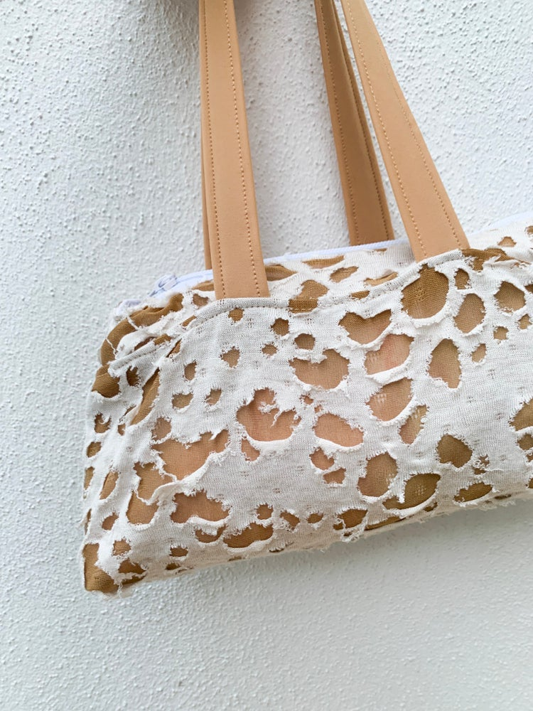 Image of Distressed Dalmation Mini Bowling Tote - Nude OR Black