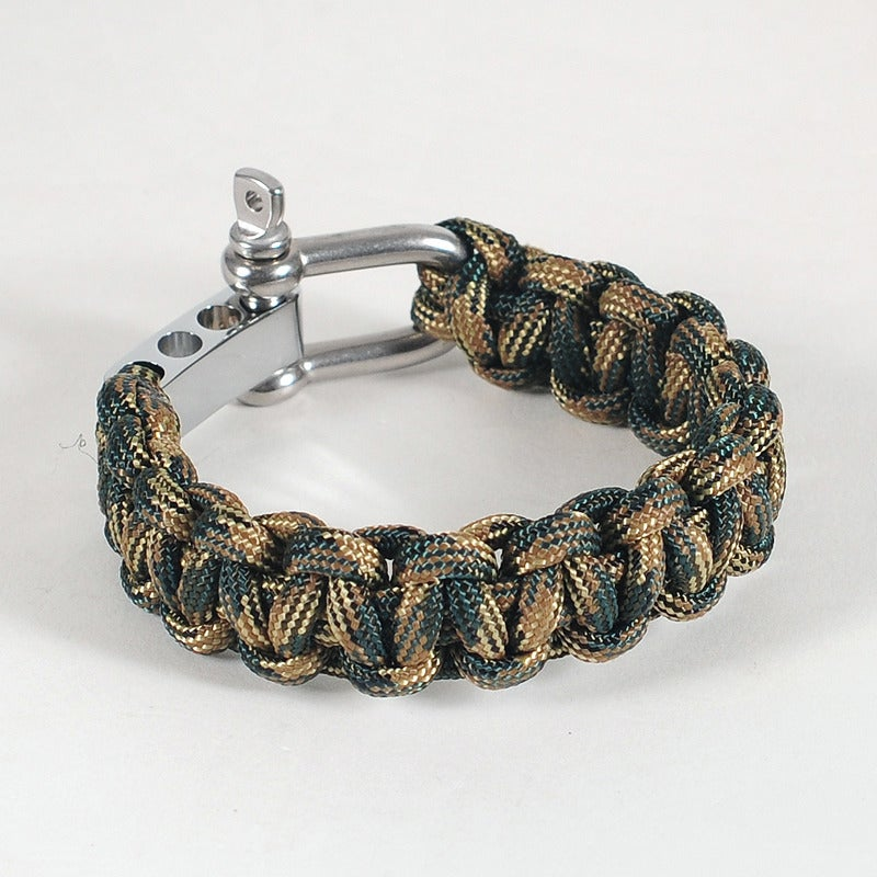 Image of Paracord Shackle Bracelet - Forest Camo