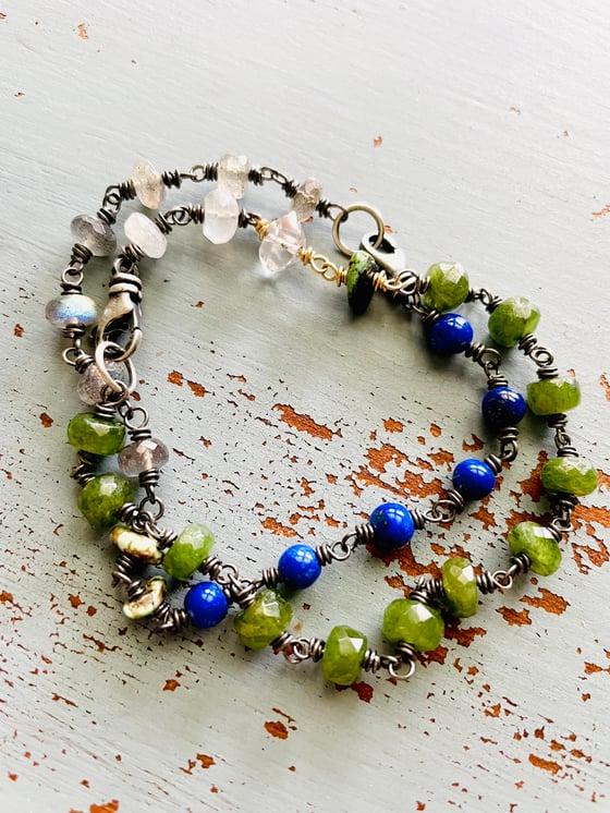 Image of labradorite, turquoise and lapis bracelet