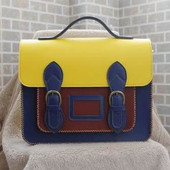 Image of Handmade Genuine Leather Satchel / Messenger Bag / Backpack - Multicolor (s2)