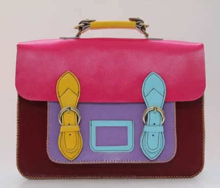 Image of Handmade Genuine Leather Satchel / Messenger Bag / Backpack - Multicolor (s9)