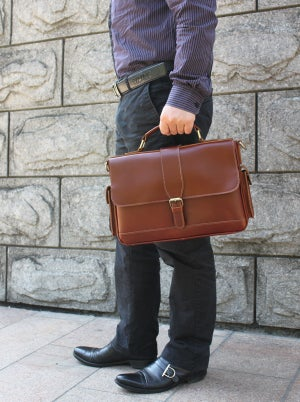 "Image of Handmade Genuine Leather Briefcase / Messenger / 11"" MacBook 12"" Laptop Bag in reddish brown (n20-4)"