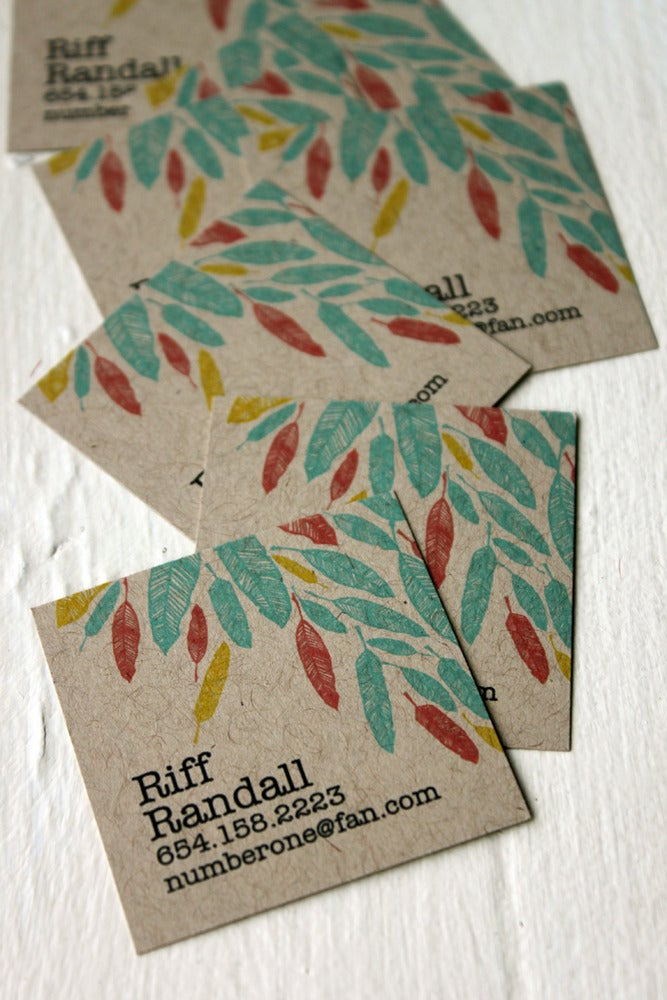 Image of  Feather Calling cards on Kraft