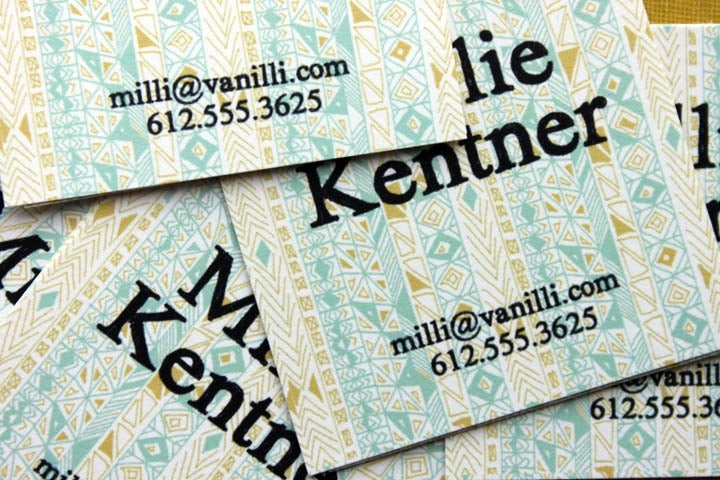 Image of Square Calling Cards-Rude Boy print in Yellow Ochre and Aqua