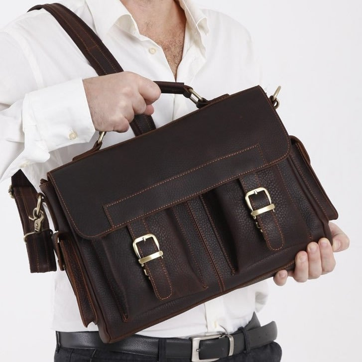 "Image of Vintage Handmade Genuine Crazy Horse Leather Briefcase Messenger 13"" Laptop / 13"" MacBook Bag (n55)"