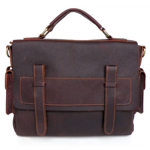Image of Vintage Handmade Genuine Oil Tanned Leather Briefcase Messenger Laptop Bag in dark brown (n64)