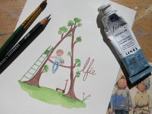 Image of Boy & Tree Name Painting