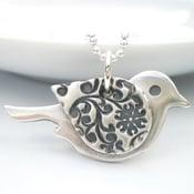 Image of Orange Blossom Silver Bird Pendant
