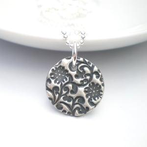 Image of Orange Blossom Silver Round Pendant