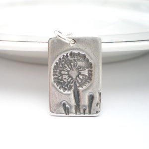 Image of Silver Dandelion Wish Rectangle Pendant