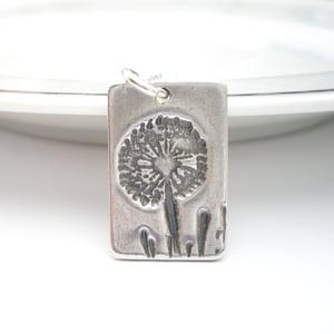 Image of Silver Dandelion Wish Rectangle Pendant