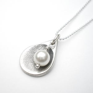 Image of Silver Fingerprint Teardrop Necklace, Small