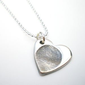 Image of Silver Fingerprint Heart Necklace, Small