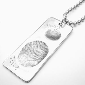 Image of Silver Fingerprint Dogtag Necklace, Two Fingerprints