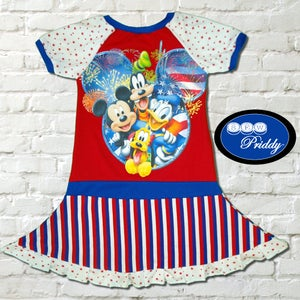 Image of **SOLD OUT** Mickey Mouse and Friends Fireworks Twirl Dress - size 9/10