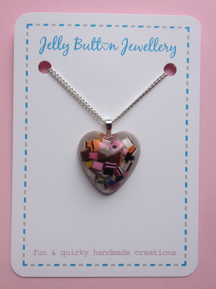 Image of Liquorice Allsorts Resin Heart Necklace