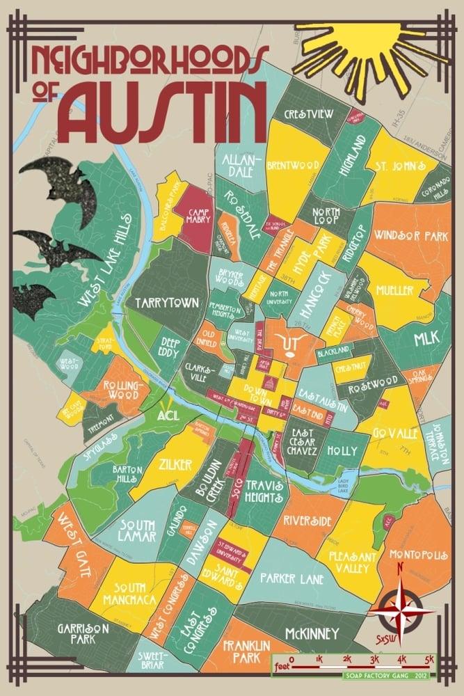 Austin Neighborhoods Map Neighborhoods of Austin Poster / Soap Factory Gang Austin Neighborhoods Map