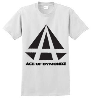 Image of ACE OF DYMONDZ T-SHIRT - WHITE WITH BLACK LOGO