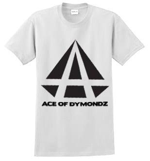 Image of ACE OF DYMONDZ T-SHIRT - WHITE WITH BLACK LOGO