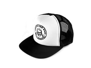 "Image of ""Shut Up and Race"" Trucker Hat, Black/White (P1B-T0514)"