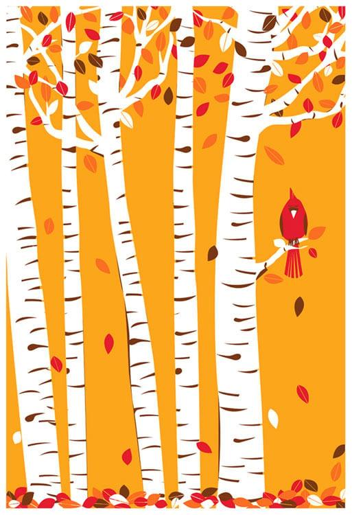 Image of Autumn Cardinal Silkscreen Birch Tree & Fall Leaves Art Print