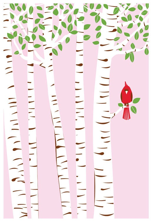 Image of Summer Cardinal Silkscreen Birch Trees Art Print