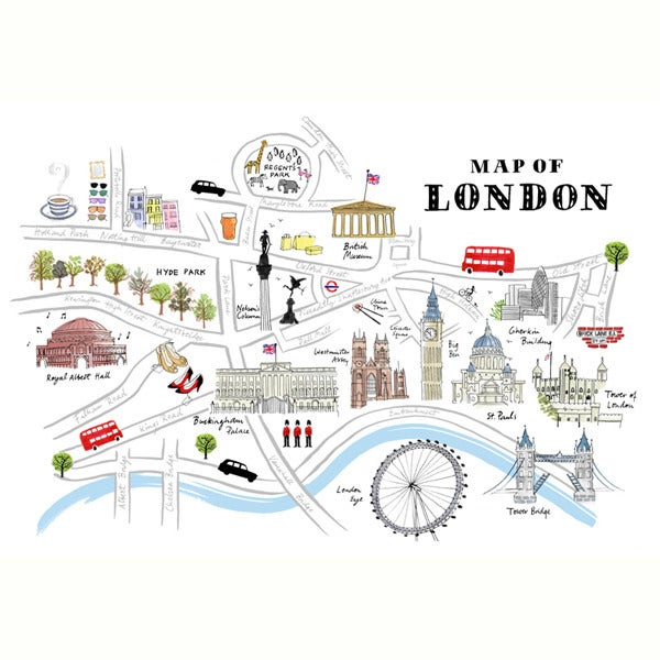 London Landmarks Map.Alice Tait Map Of London Print