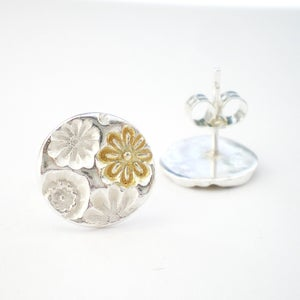 Image of Silver and Gold Flower Stud Earrings