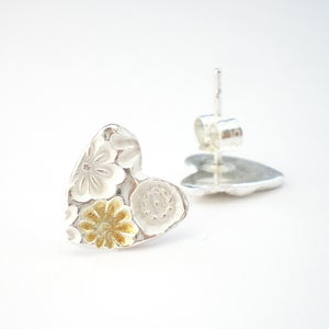 Image of Silver and Gold Flower Heart Earrings