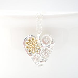 Image of Silver and Gold Flower Heart Pendant
