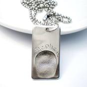 Image of Silver Fingerprint Dogtag Necklace, One Fingerprint