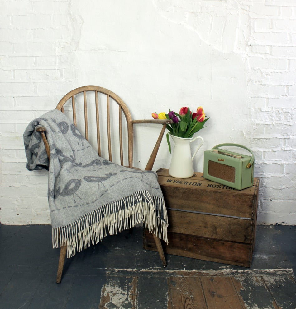 Image of ON SALE - lovebird lambswool throw *limited edition*
