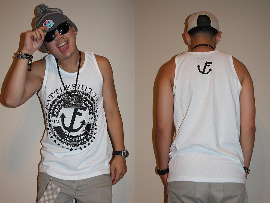 "Image of Fr3sh & Cakey ""BattleShittin'"" Men's Tank Top in White"