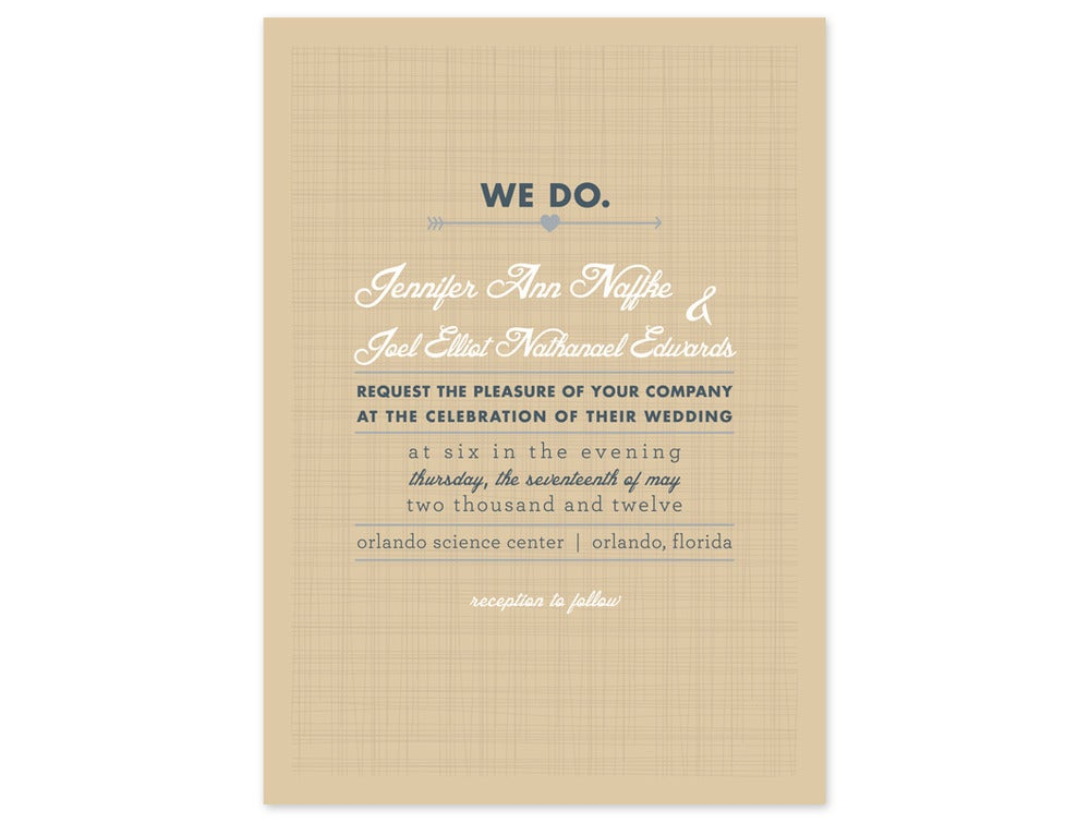 Image Of Linen Type Wedding Invitation And Rsvp Card Set 25